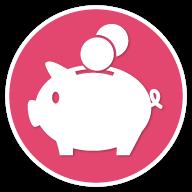 piggy bank icon pink